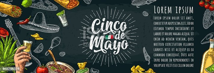 istock Cinco de Mayo lettering and mexican traditional food 945296374