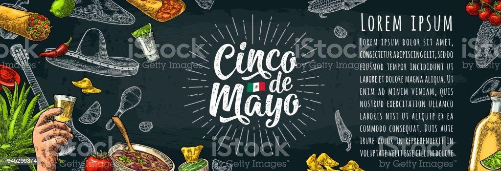 Letras de cinco de Mayo y comida tradicional mexicana - ilustración de arte vectorial