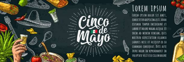 Cinco de Mayo lettering and mexican traditional food Cinco de Mayo lettering and mexican traditional food with Tequilla, Guacamole, Quesadilla, Enchilada, Burrito, Tacos, Nachos, Chili con carne and ingredient. Vector vintage engraved illustration on dark background cinco de mayo stock illustrations