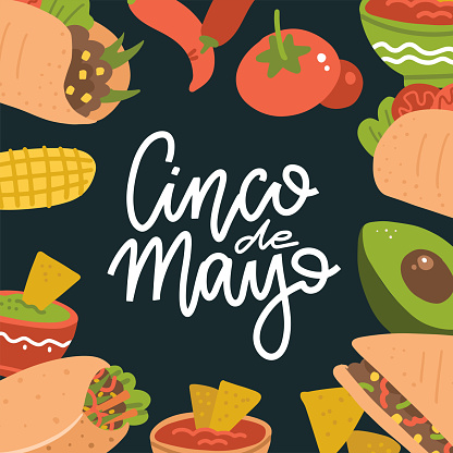 Cinco de Mayo lettering banner with mexican food - Guacamole, Quesadilla, Burrito, Tacos, Nachos, Chili con carne and ingredient. Vector flat illustration on dark background