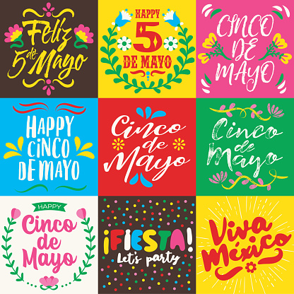 Cinco de Mayo lettering cards