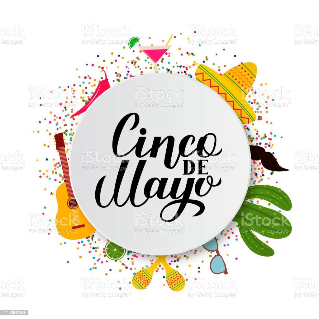 Cinco De Mayo Lettrage Sur Plaque De Papier Avec Des