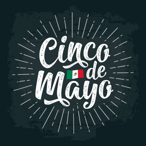 Cinco de Mayo lettering. Vector color vintage engraving illustration. Cinco de Mayo calligraphic handwriting lettering with ray. Vector color vintage engraving illustration. Isolated on dark background. cinco de mayo stock illustrations