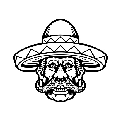 Cinco de mayo man with sombrero hat character Silhouette illustrations for your work Logo, mascot merchandise t-shirt, stickers and Label designs, poster, greeting cards advertising business company or brands.
