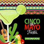 Celebrate Cinco De Mayo with margarita, guitar, cactus, maracas, peppers on the folk art pattern for the fiesta