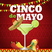 Celebrate Cinco De Mayo with margarita, sombrero,  maracas, peppers on the red folk art pattern for the fiesta