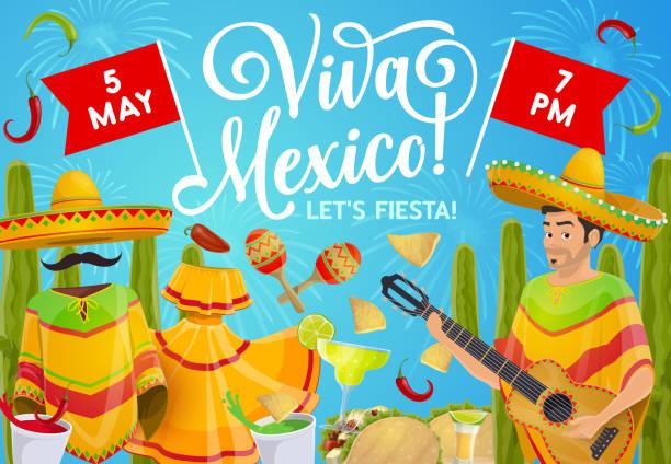 cinco de mayo mariachi with guitar and sombrero - cinco de may stock illustrations, clip art, cartoons, & icons