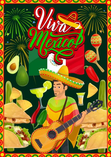 cinco de mayo mariachi with sombrero and guitar - cinco de may stock illustrations, clip art, cartoons, & icons