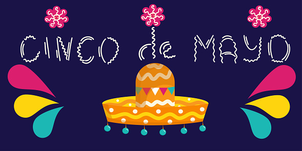 Cinco de Mayo - may 5, a Federal holiday in Mexico inscription with sombrero isolated on a white background. Vector illustration in flat cartoon style. Hat with bells and bright splashes..