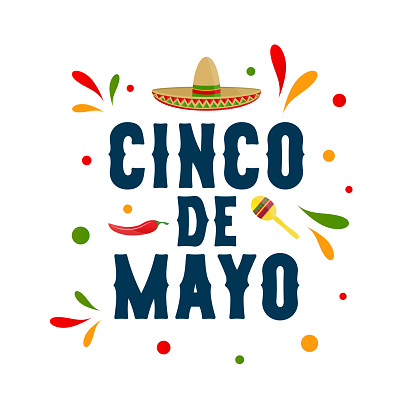 Cinco de Mayo, may 5 colorful card with chili pepper, sombrero and maraca. Vector