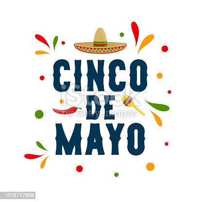 istock Cinco de Mayo, may 5 colorful card with chili pepper, sombrero and maraca. Vector 1313717809