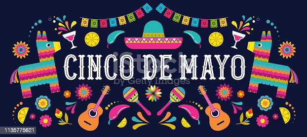 istock Cinco de Mayo - May 5, federal holiday in Mexico. Fiesta banner and poster design with flags, flowers, decorations 1135775621