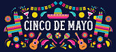 Cinco de Mayo - May 5, federal holiday in Mexico. Fiesta banner template and poster design with flags, flowers, decorations