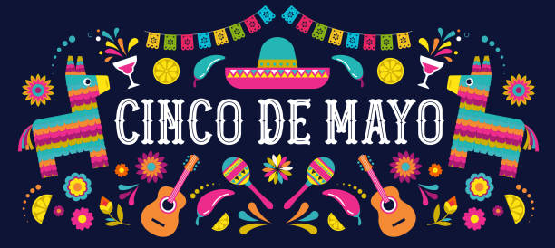 Cinco de Mayo - May 5, federal holiday in Mexico. Fiesta banner and poster design with flags, flowers, decorations Cinco de Mayo - May 5, federal holiday in Mexico. Fiesta banner template and poster design with flags, flowers, decorations cinco de mayo stock illustrations