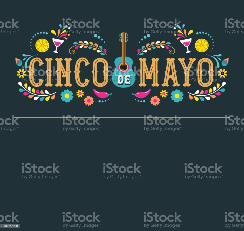 Cinco de Mayo - May 5, federal holiday in Mexico. Fiesta banner and poster design with flags vector art illustration