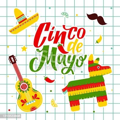 istock Cinco de Mayo - May 5, federal Mexico holiday. Cinco de mayo. Hand drawn lettering phrase. Cinco de mayo poster with guitar and decoration vector illustration design. Fiesta. Mexico 1313533898