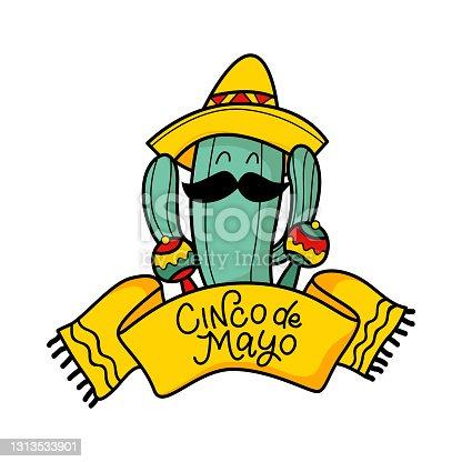 istock Cinco de Mayo - May 5, federal Mexico holiday. Cinco de mayo. Hand drawn cactus in a hat with moroccas and the inscription. Fiesta. Mexico 1313533901