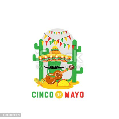 istock Cinco de Mayo -May 5th- typography banner vector. Mexico design for fiesta cards or party invitation and poster. Collection of Cinco de Mayo design vector illustration elements - Vector 1130109069