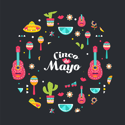 Cinco de Mayo Mexican card in a circle. Poster of Mexican culture symbols: maracas, fruits, sombrero, cactus, guitar. Colorful Cinco de Mayo pattern print, t shirt.