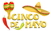 Cinco de Mayo - May 5, federal holiday in Mexico. Poster of Mexican culture symbols: maracas, sombrero and red, green pepper. Vector illustration