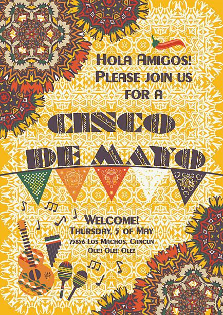 bildbanksillustrationer, clip art samt tecknat material och ikoner med cinco de mayo mexican festive poster template - latino music