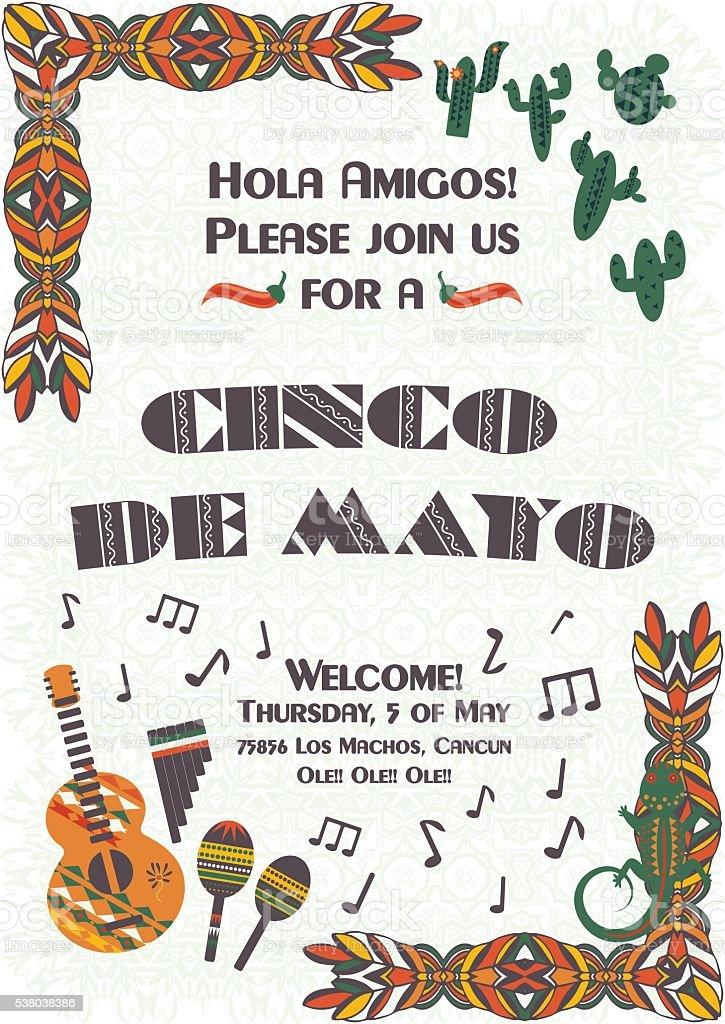 cinco de mayo mexican festive poster template stock vector art
