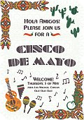 Cinco de Mayo Mexican fiesta poster template, background with ethnic ornament patterns, guitar, maracas, cactus, music instruments. Card template for greetings, invitations or posters