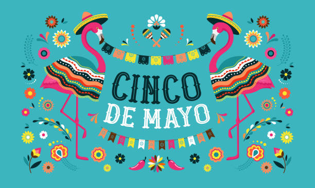 Cinco de mayo, Mexican Fiesta banner and poster design with flamingo, flowers, decorations Cinco de mayo, Mexican Fiesta banner and poster design template with flamingo, flowers, decorations cinco de mayo stock illustrations