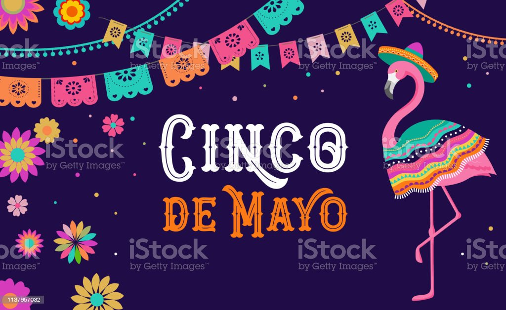 Cinco De Mayo Mexican Fiesta Banner And Poster Design With Flamingo