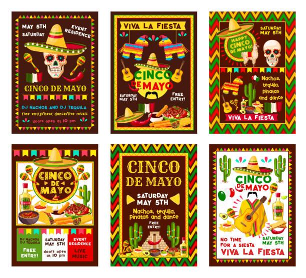 シンコ ・ デ ・ メキシコのフィエスタ パーティー バナー デザイン - メキシコ料理点のイラスト素材/クリップアート素材/マンガ素材/アイコン素材