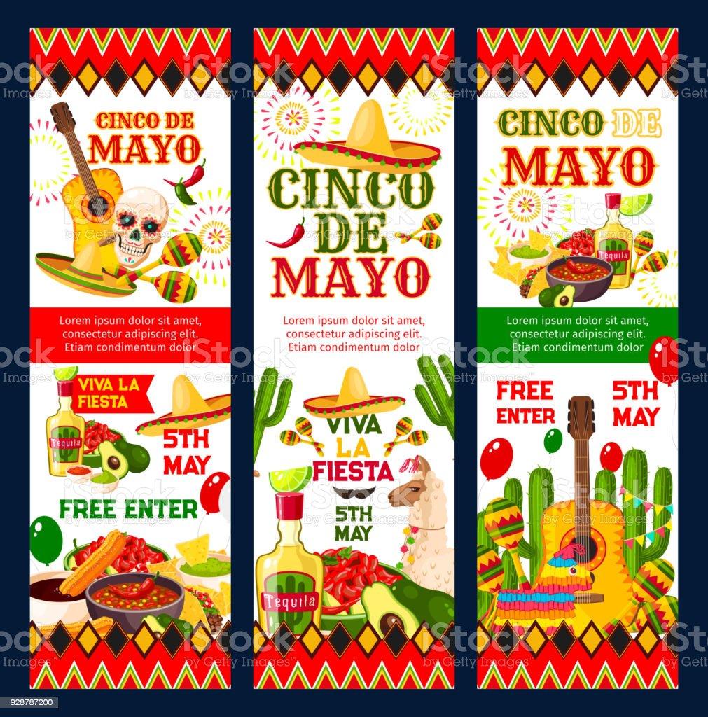 Cinco De Mayo Mexican Fiesta Party Invitation Card Stock Vector Art ...