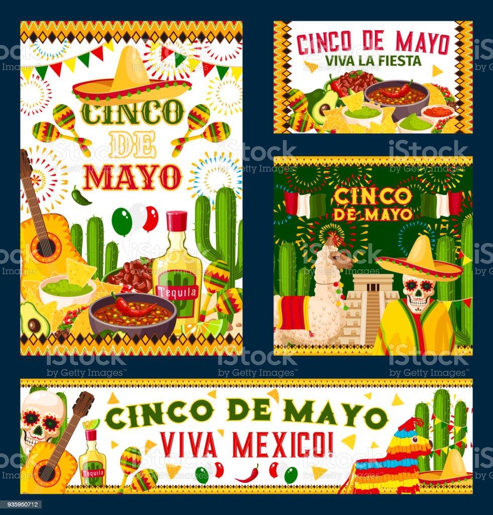 Diseño de carteles de fiesta cinco de Mayo fiesta mexicana ilustración de  diseño de carteles de 83f76868b7c