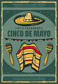 Cinco de Mayo Mexican holiday celebration greeting card or retro sketch poster for Mexico traditional fiesta. Vector sombrero, poncho and maracas in Mexican flag color for Cinco De Mayo 5 May