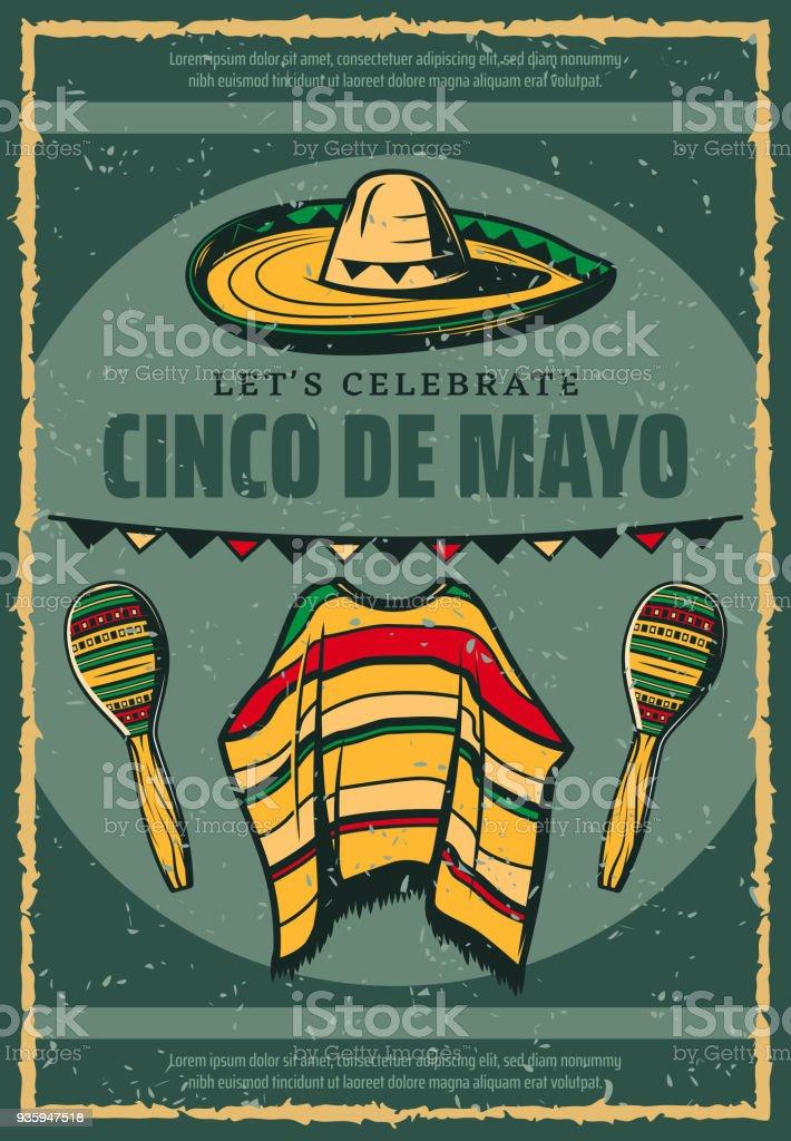 Cinco de Mayo Mexican sombrero retro sketch poster vector art illustration