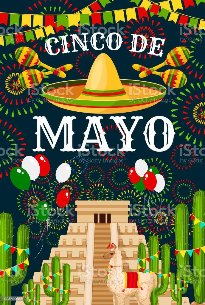 Cinco de Mayo Mexican sombrero vector greeting vector art illustration