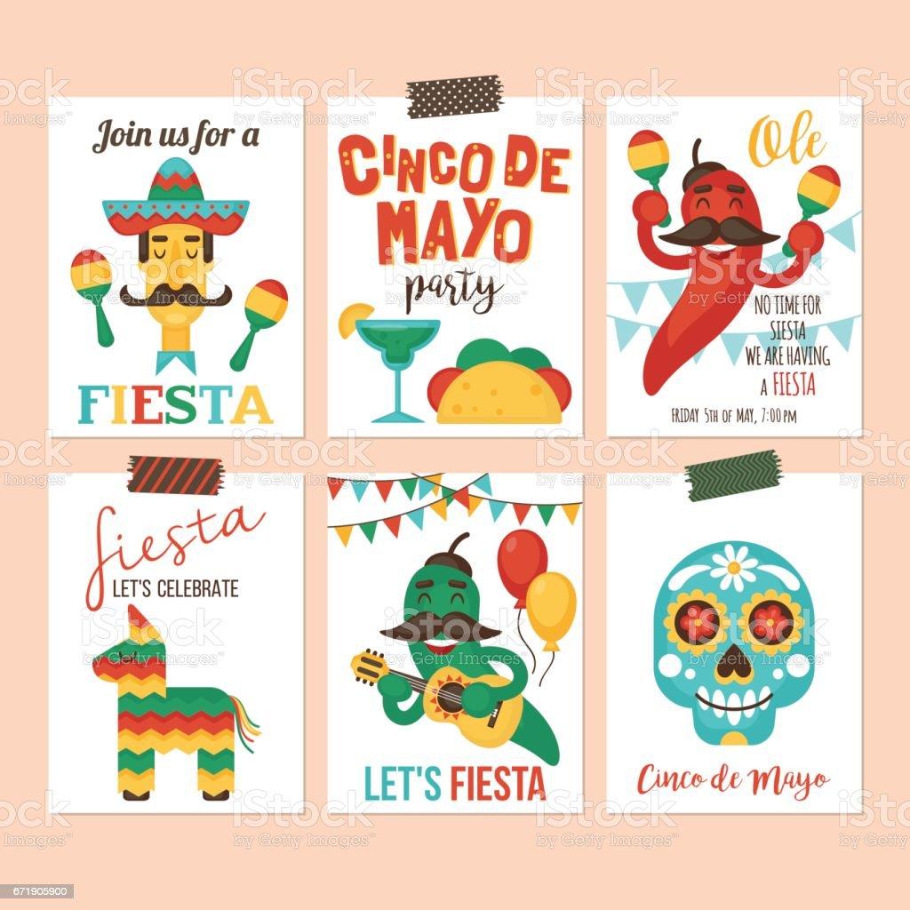 Ilustración De Banner De Fiesta Mexicana Del Cinco De Mayo Cartel Invitación De La Fiesta Y Tarjeta De Felicitación Diseño Conjunto Y Más Vectores