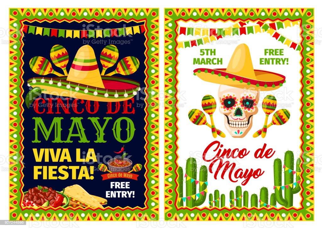 フィエスタ パーティーのシンコ ・ デ ・ メキシコの休日カード ベクターアートイラスト