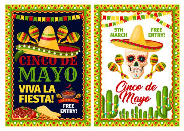 cinco de mayo mexican holiday card of fiesta party - cinco de may stock illustrations, clip art, cartoons, & icons