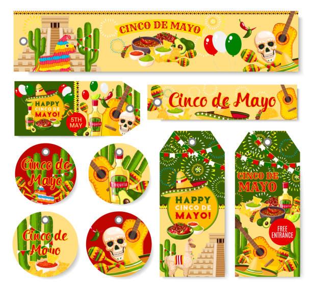 cinco de mayo mexican holiday fiesta vector tags - cinco de may stock illustrations, clip art, cartoons, & icons