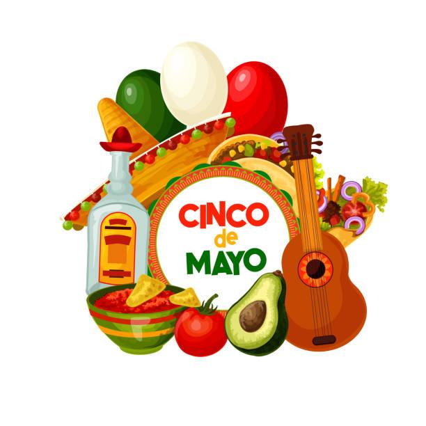 cinco de mayo mexican holiday food and decorations - cinco de may stock illustrations, clip art, cartoons, & icons