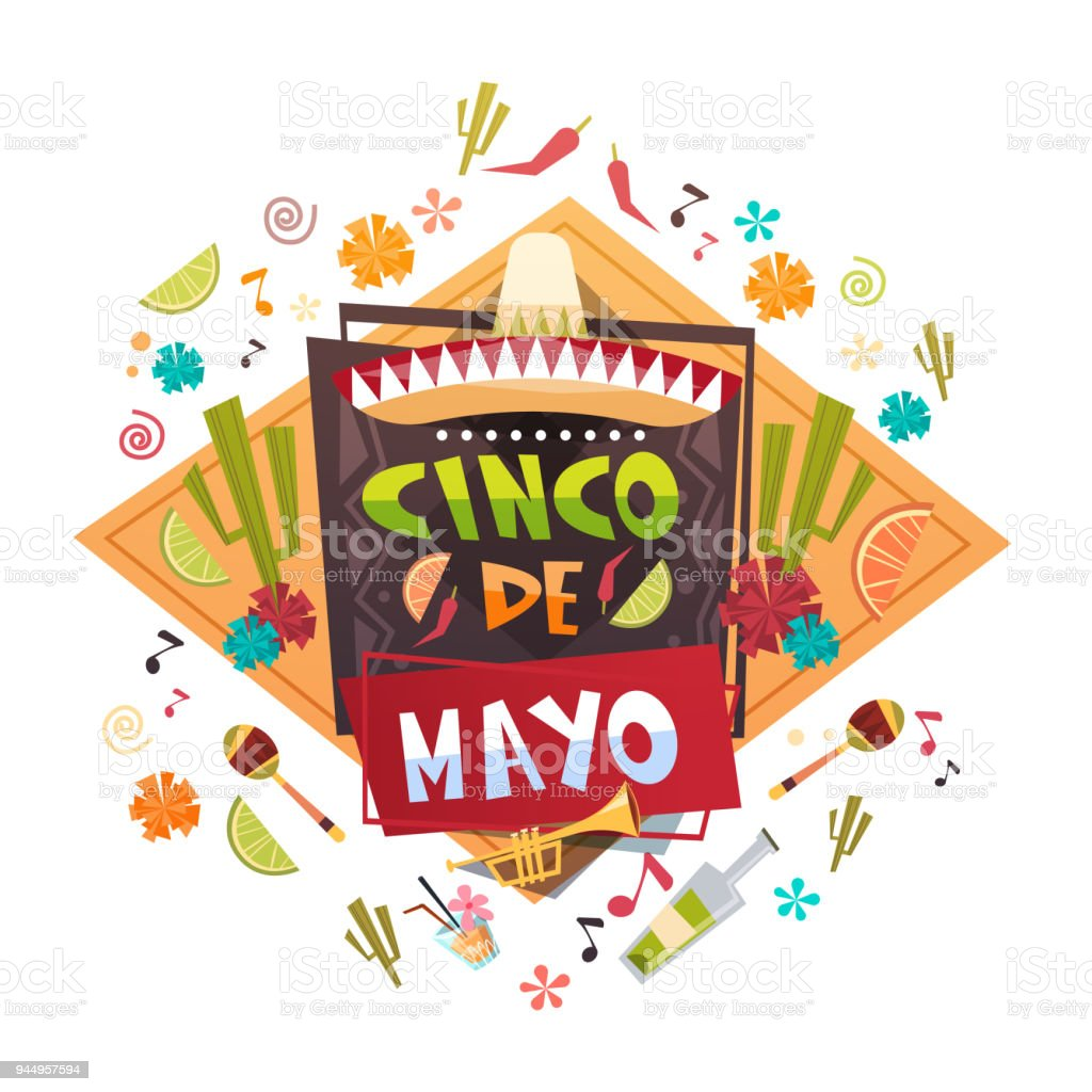 Cinco De Mayo Mexican Holiday Greeting Card Decoration Poster Design vector art illustration