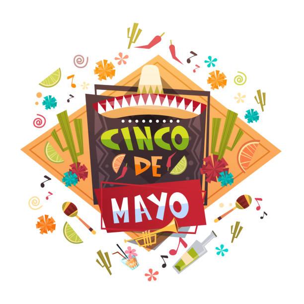 cinco de mayo mexican holiday greeting card decoration poster design - cinco de may stock illustrations, clip art, cartoons, & icons