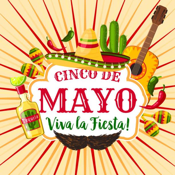 cinco de mayo mexican holiday greeting poster - cinco de may stock illustrations, clip art, cartoons, & icons