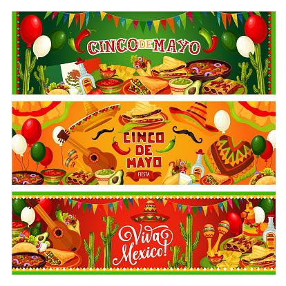 Cinco de Mayo, Mexican holiday guitar and sombrero
