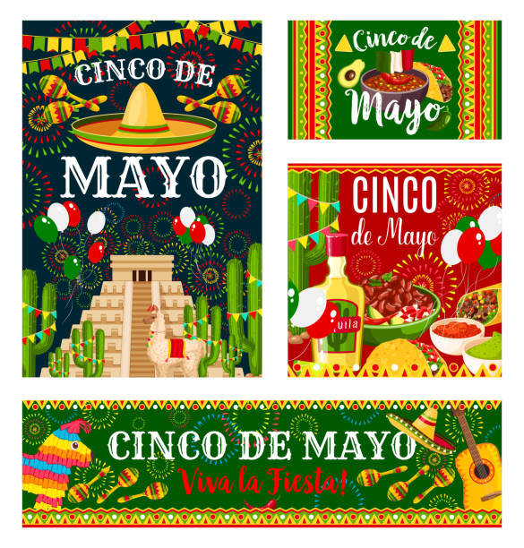 シンコ ・ デ ・ メキシコの休日案内バナー - メキシコ料理点のイラスト素材/クリップアート素材/マンガ素材/アイコン素材