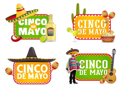Cinco de Mayo Mexican holiday isolated icons
