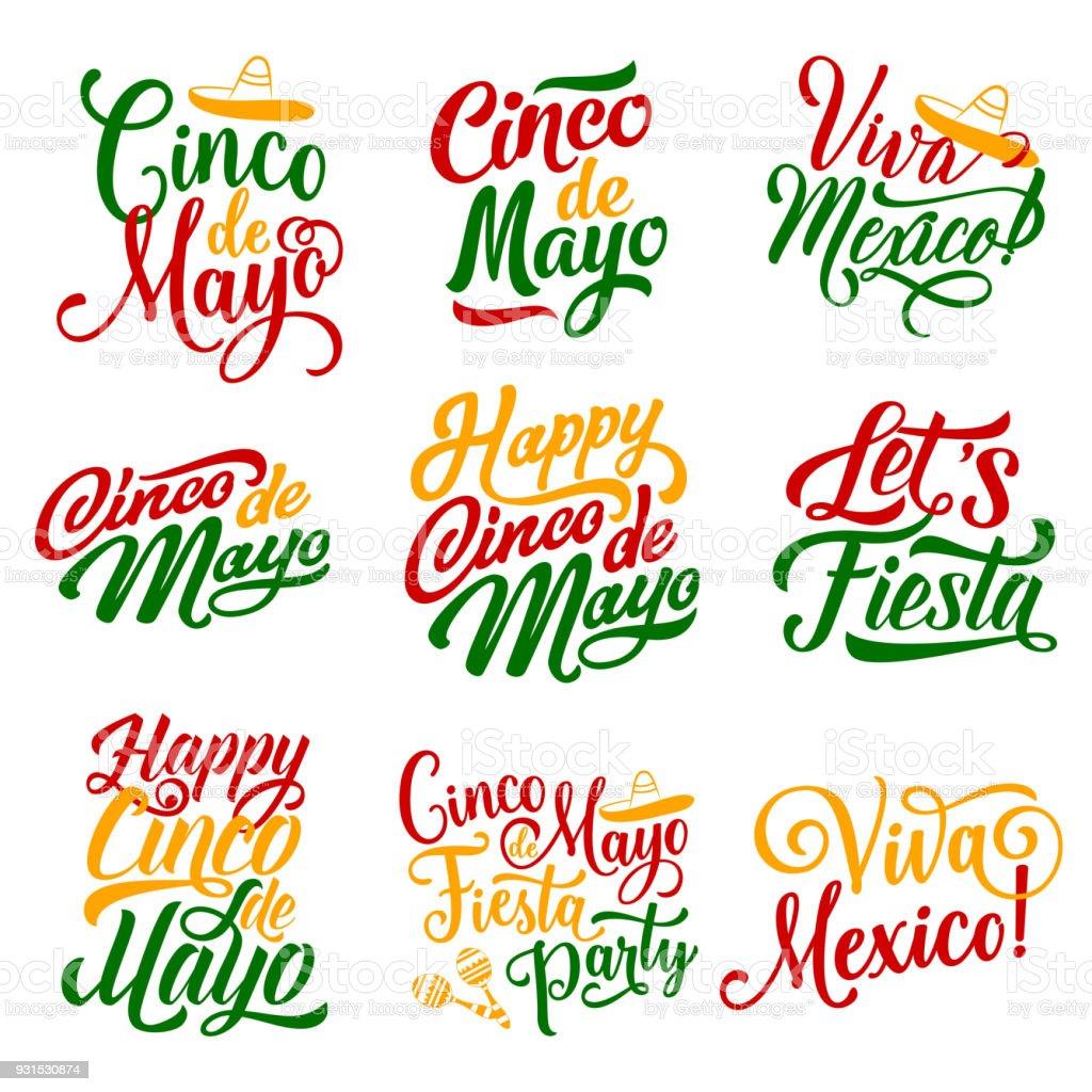 Cinco de Mayo Mexican holiday fiesta vector icons vector art illustration