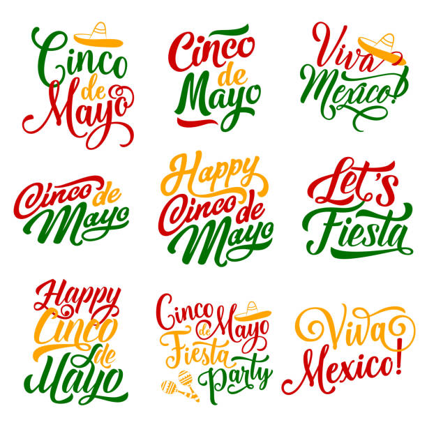 Cinco de Mayo Mexican holiday party vector icons Cinco de Mayo Mexican holiday party celebration calligraphy lettering for greeting card design. Vector hand drawn font text in Mexican flag colors and sombrero or maracas for Cinco de Mayo fiesta cinco de mayo stock illustrations
