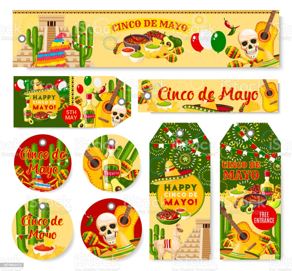Cinco de Mayo Mexican holiday fiesta vector tags vector art illustration