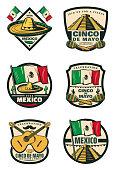Cinco de Mayo Mexican holiday celebration sketch icons for for Mexico traditional fiesta greeting card. Vector sombrero, poncho and maracas, Cinco De Mayo jalapeno pepper, guitar and flag or cactus